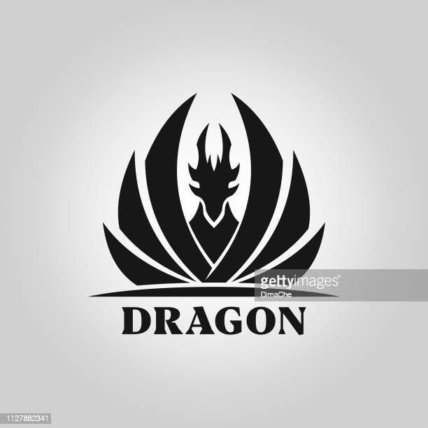 dragon silhouette with spread wings - vector icon - dragon stock illustrations