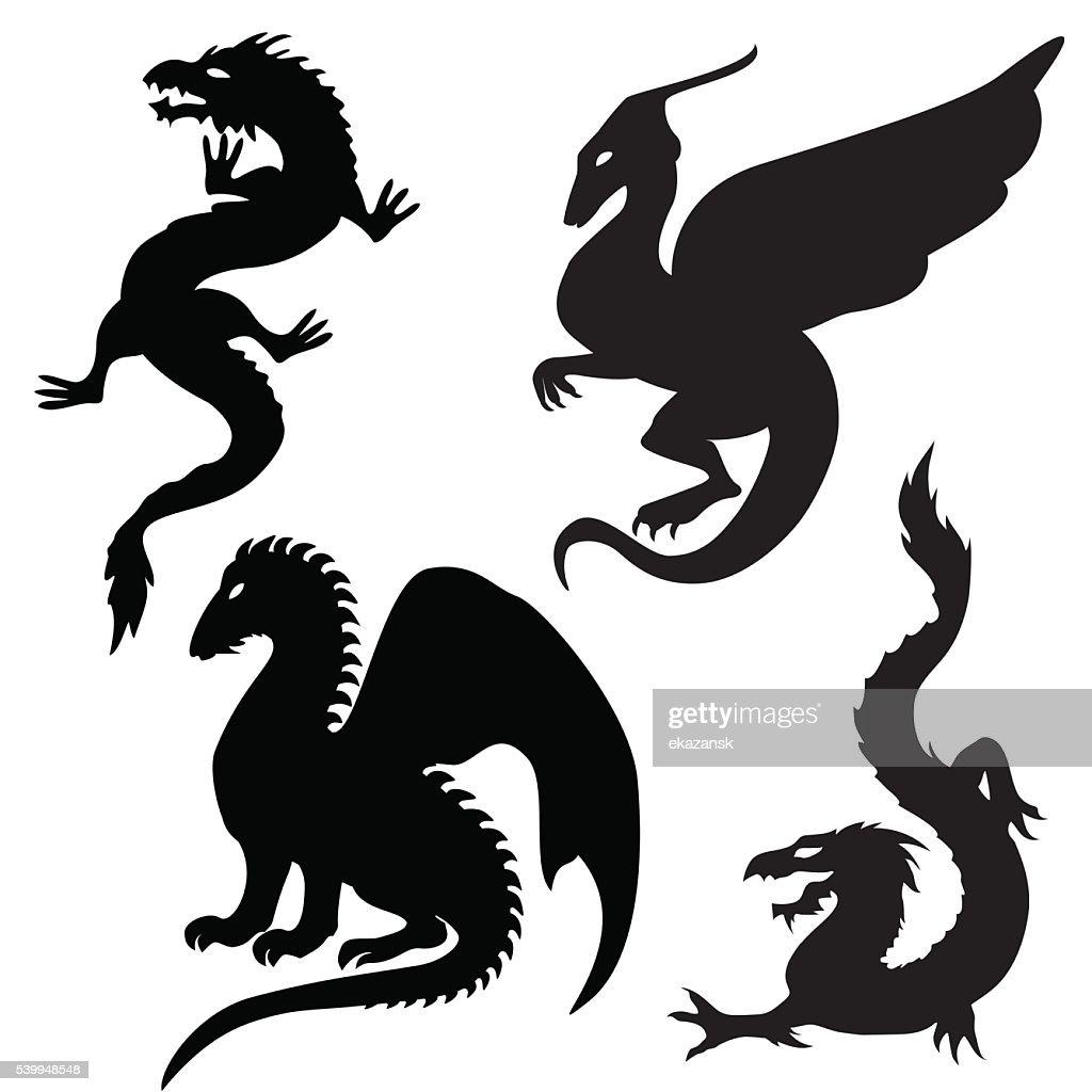 Dragon silhouettes set