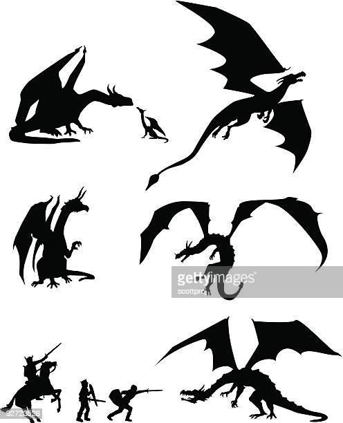 ilustraciones, imágenes clip art, dibujos animados e iconos de stock de siluetas de dragón - fantasía