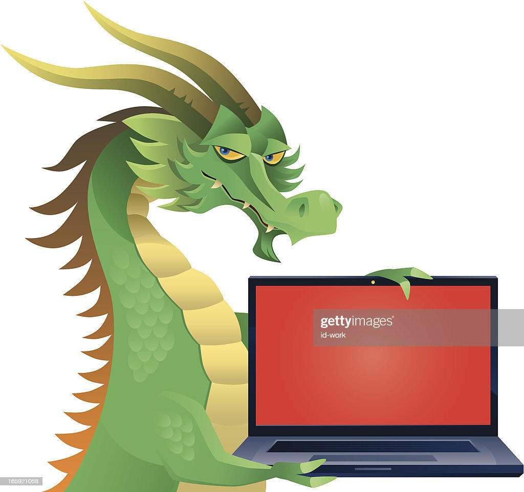 dragon with laptop
