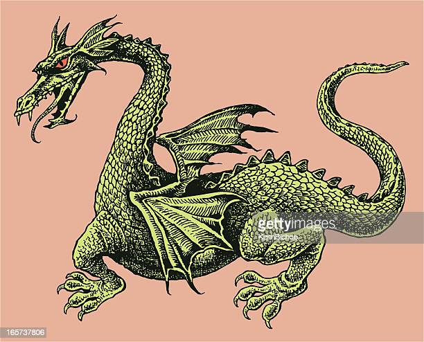 dragon with red eyes and wings - medieval - dragon stock illustrations