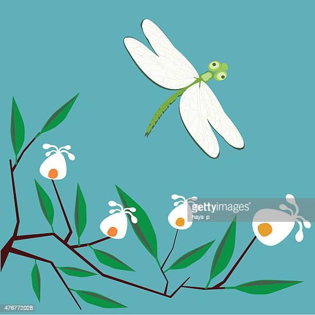 Libellule et branche avec des fleurs sur un fond turquoise