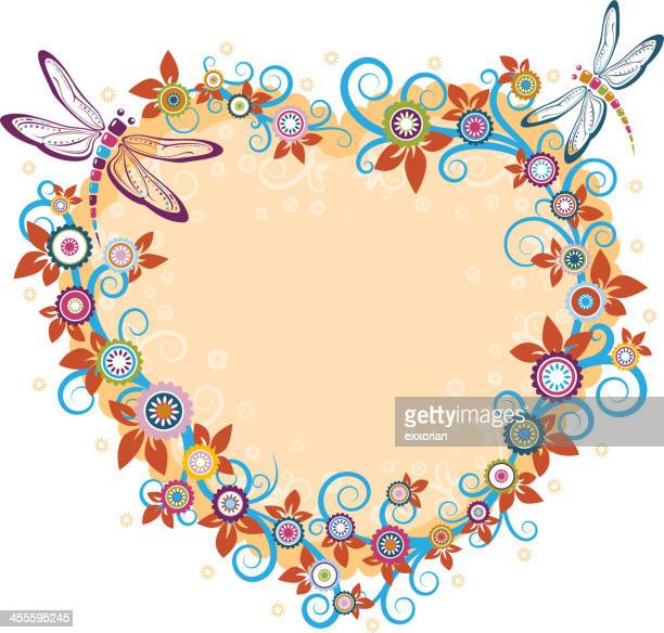 Dragonfly and Floral in Heart Frame Shape