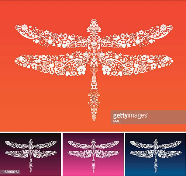Dragonfly constructed of multiple white shape elements