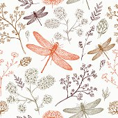 Dragonfly seamless pattern. Fern botanical background. Vector illustration