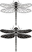 Dragonfly silhouette icons set.
