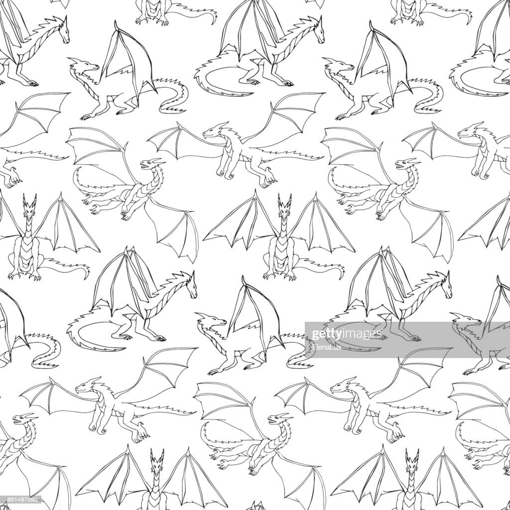 Dragons doodle seamless pattern