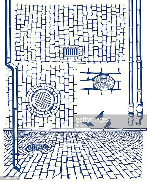 drains & cobbles - brick stock illustrations