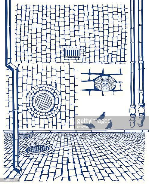 bildbanksillustrationer, clip art samt tecknat material och ikoner med drains & cobbles - kullersten