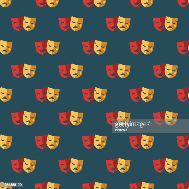 drama april fools' day seamless pattern - theater industry stock illustrations, clip art, cartoons, & icons