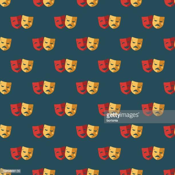 ドラマ エイプリルフールのシームレス パターン - 悲劇の面点のイラスト素材/クリップアート素材/マンガ素材/アイコン素材