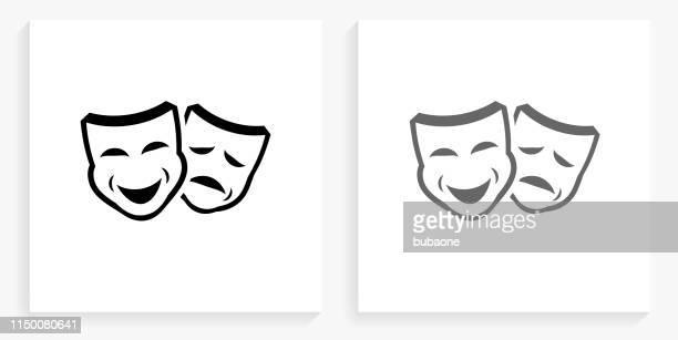 ドラママスク黒と白の四角アイコン - 悲劇の面点のイラスト素材/クリップアート素材/マンガ素材/アイコン素材