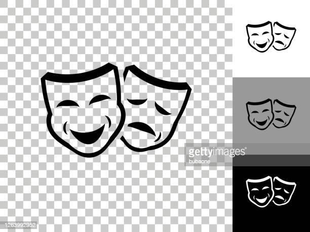 チェッカーボード透明背景のドラママスクアイコン - 悲劇の面点のイラスト素材/クリップアート素材/マンガ素材/アイコン素材