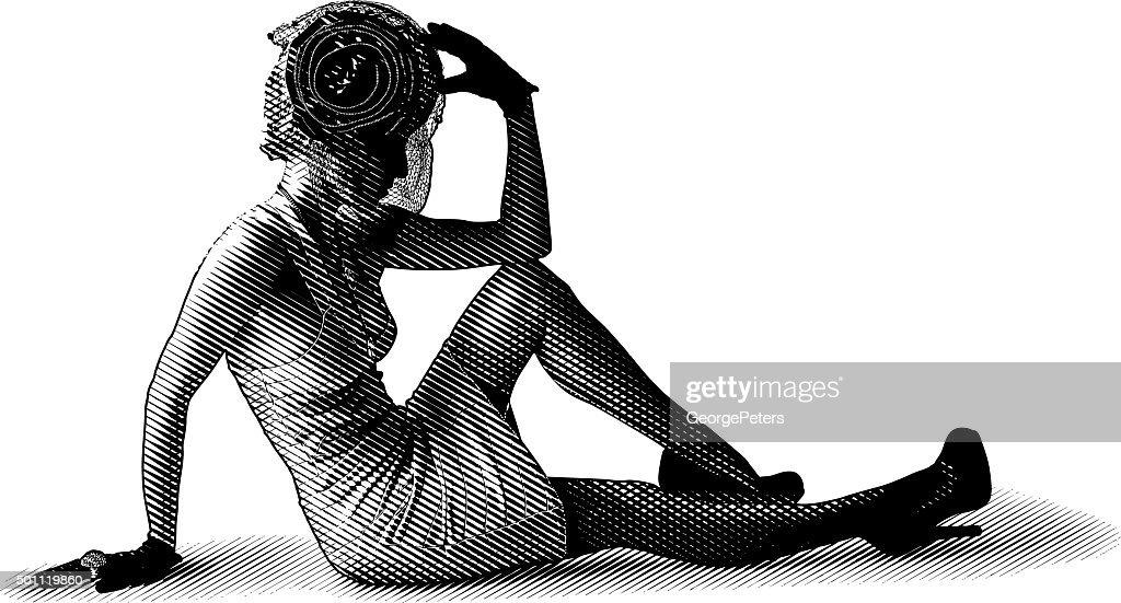 Dramatic Vintage Fashion Diva Sitting On Floor