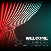 Drapery futuristic background with 80s style neon lines. Welcoming drapes for cover or party invitation made in new retro wave trend. Stage abstract