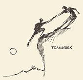 Draw helping man climb teamwork partnership sketch