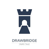 drawbridge icon. Trendy flat vector drawbridge icon on white background from Fairy Tale collection