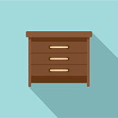 Drawers icon, flat style