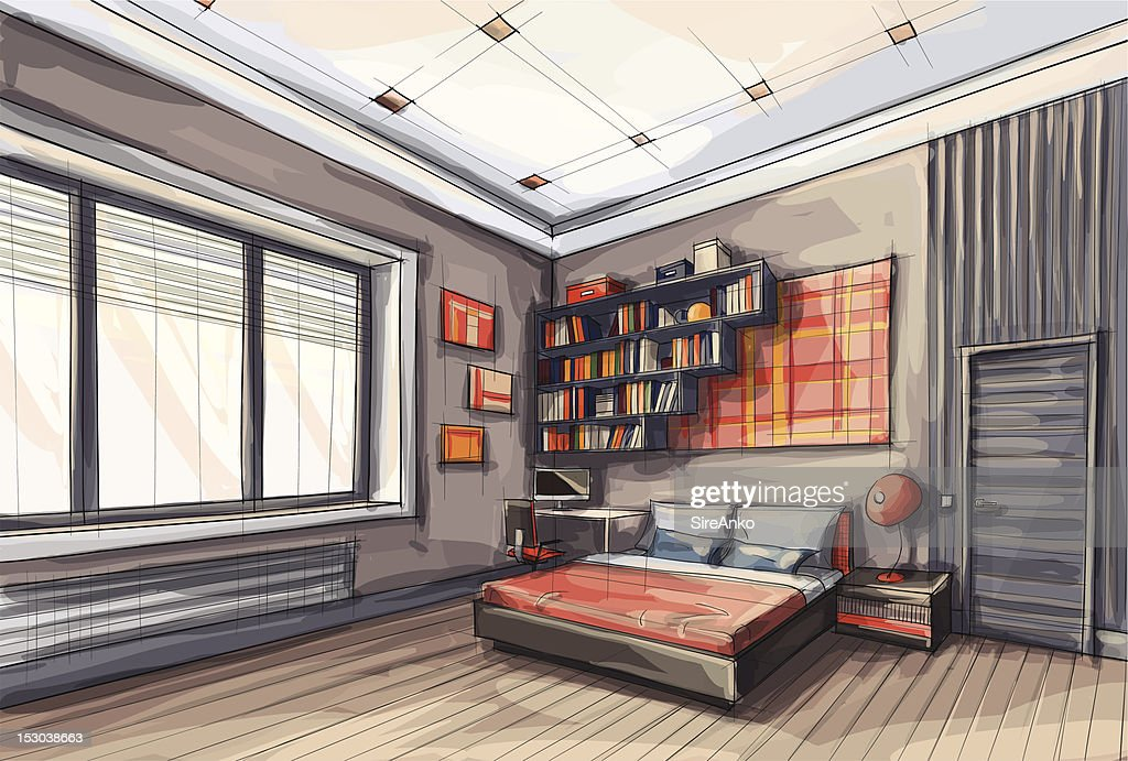 A drawing a stylish functional modern bedroom : stock illustration