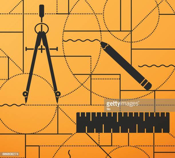 Drawing and Designing Compass Ruler Pencil Background