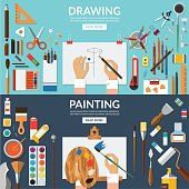 Drawing and painting conceptual banners set
