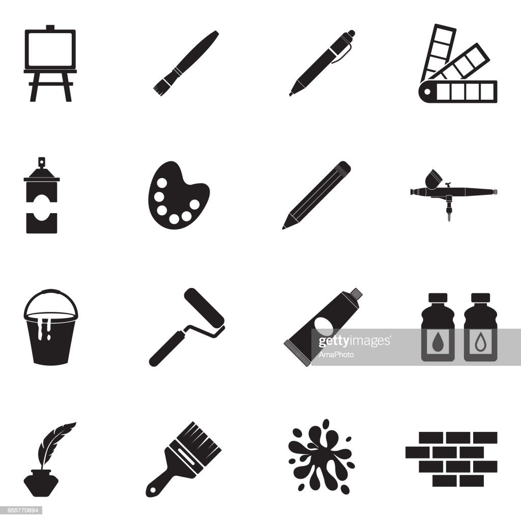 Drawing And Painting Icons. Black Flat Design. Vector Illustration.