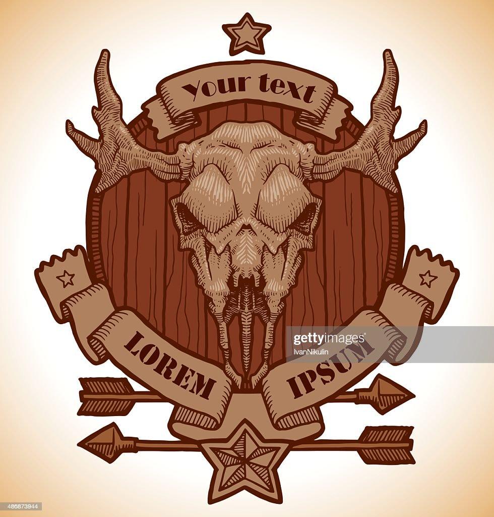 Drawing animal's skull emblem, moose