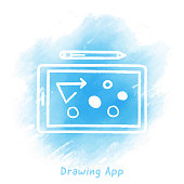 Drawing App Doodle Watercolor Background