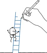 Drawing big hand and cartoon businessman - climbing up