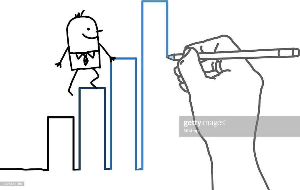 Drawing big hand and cartoon businessman - climbing up