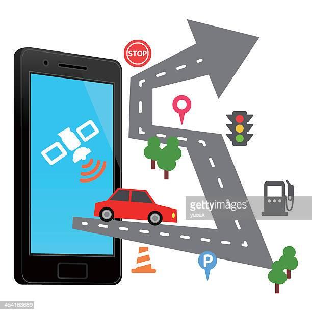 Drawing depicting smartphone navigation