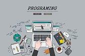 Drawing flat design illustration freelancer programing concept.