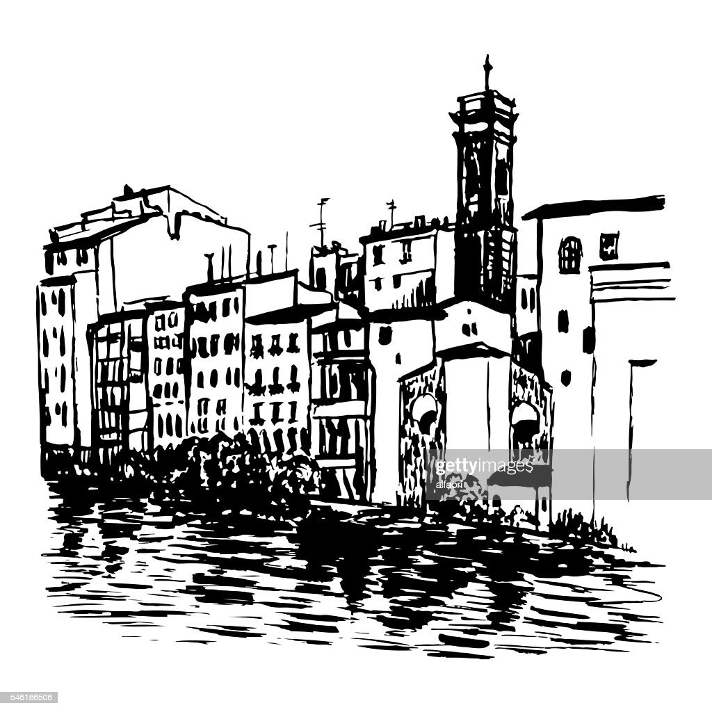 drawing landscape view of  houses in Venice sketch vector illustration