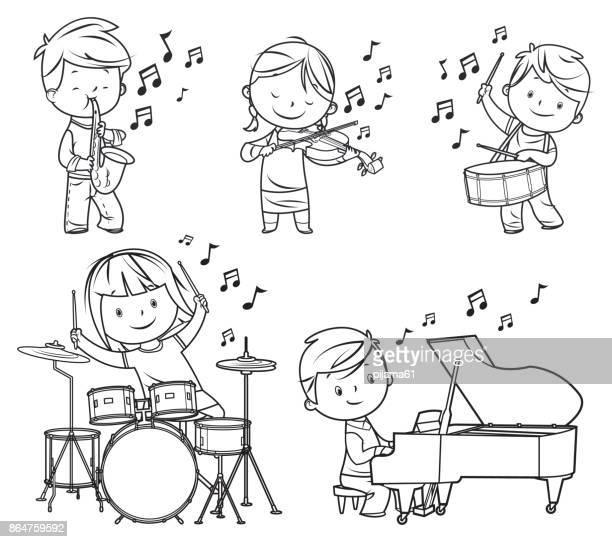 drawing musicians children - violin stock illustrations, clip art, cartoons, & icons