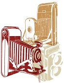 A drawing of 3 vintage cameras in red, brown and cream