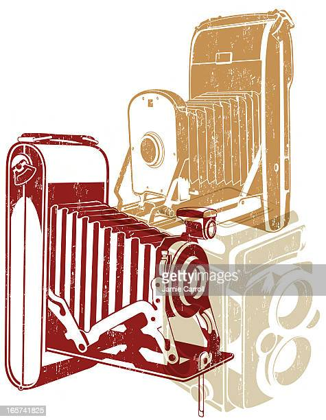 a drawing of 3 vintage cameras in red, brown and cream - large format camera stock illustrations, clip art, cartoons, & icons