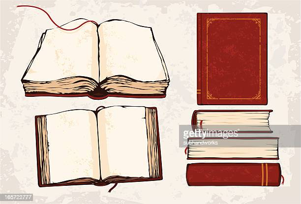 a drawing of 6 red books with built in red bookmark strings - old book stock illustrations