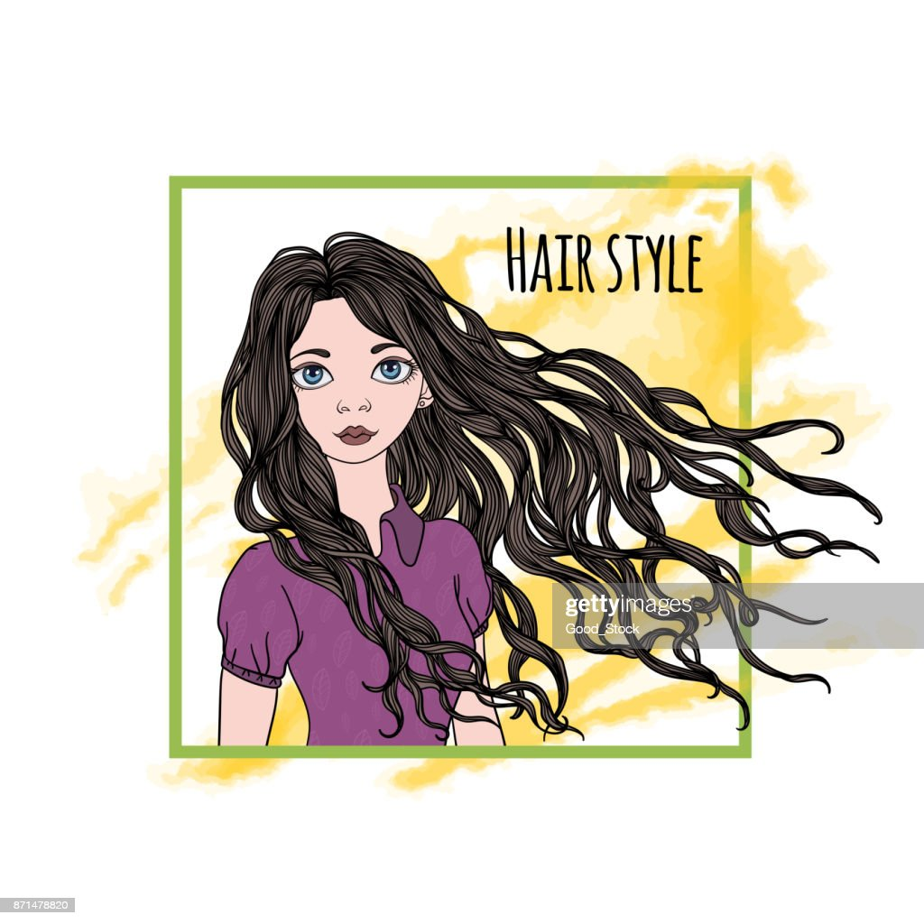 Drawing of a beautiful girl with long dark hair on a white background. Big blue eyes, red lips and curly hair. Hair style written in frame. Vector Illustration portrait in frame.