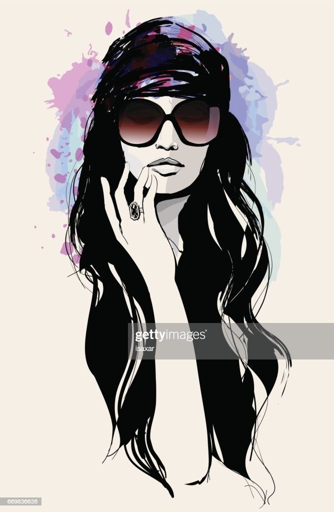 Drawing of a beautiful woman with sunglasses