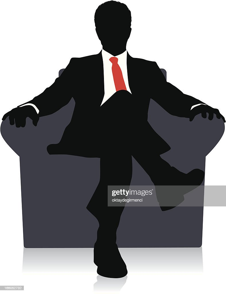 drawing of a businessman sitting on a chair with red tie vector art getty images. Black Bedroom Furniture Sets. Home Design Ideas