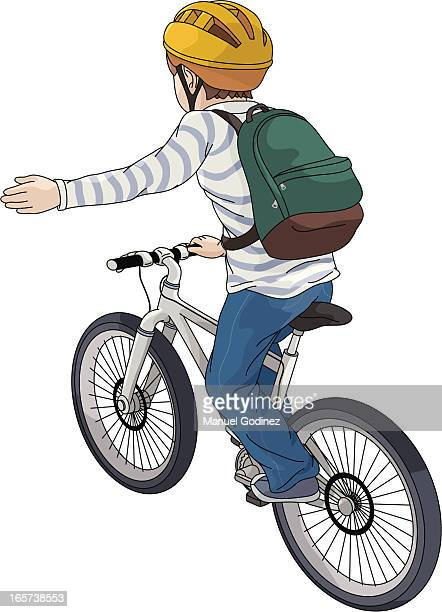 drawing of a child riding a bike and signaling to turn left - turning stock illustrations, clip art, cartoons, & icons