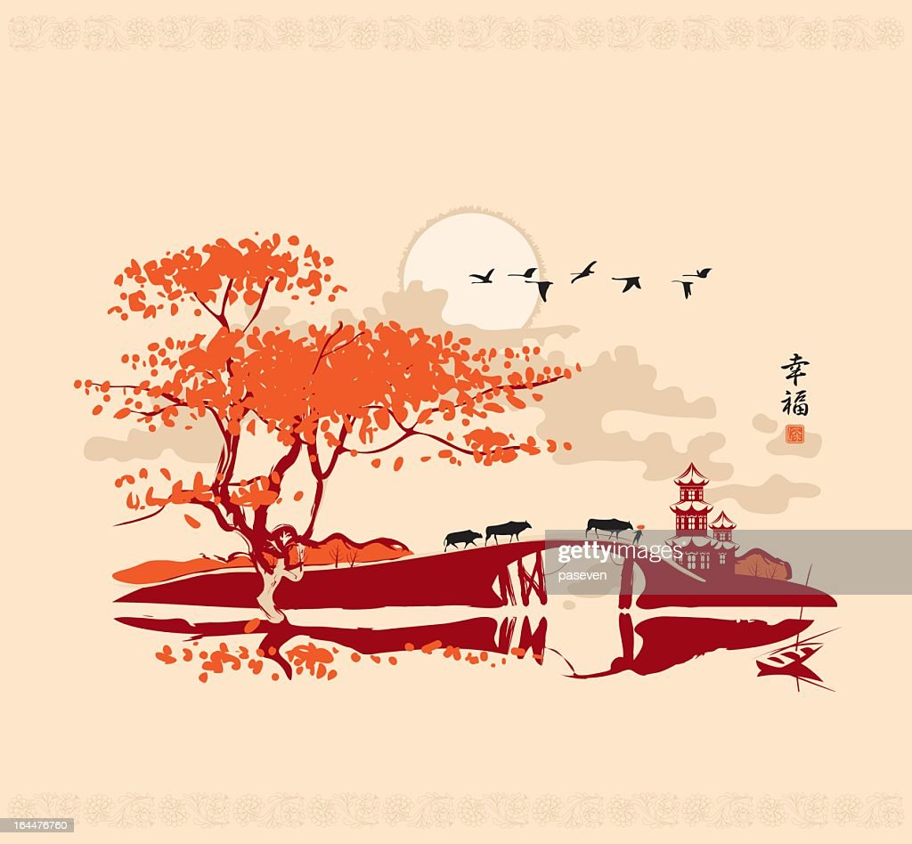 Drawing of a Chinese landscape in red