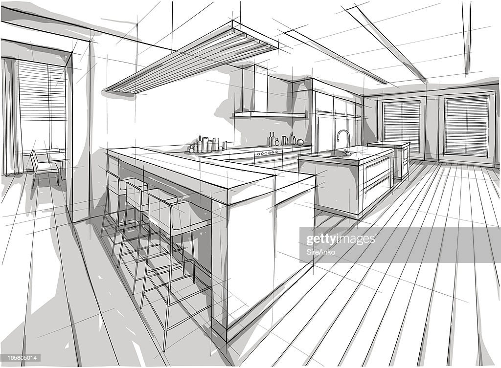 Drawing of a design for a interior home : stock illustration