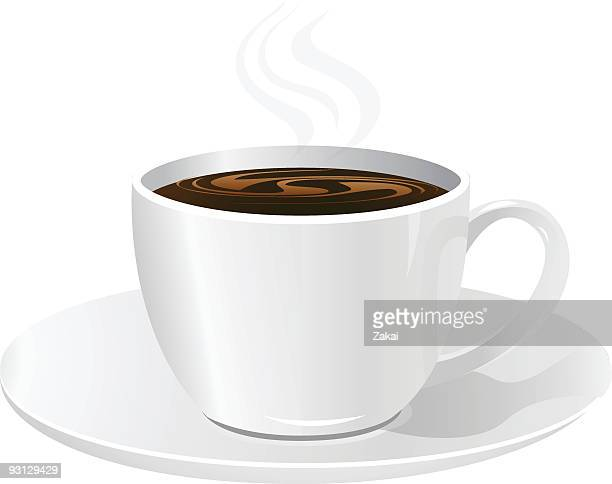 A drawing of a full cup of coffee on a saucer