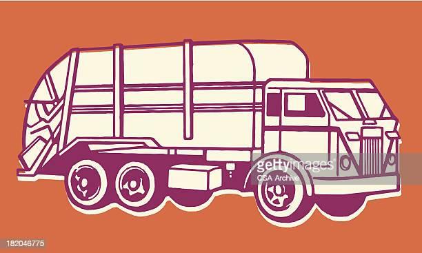 ilustrações de stock, clip art, desenhos animados e ícones de camião de lixo - gari