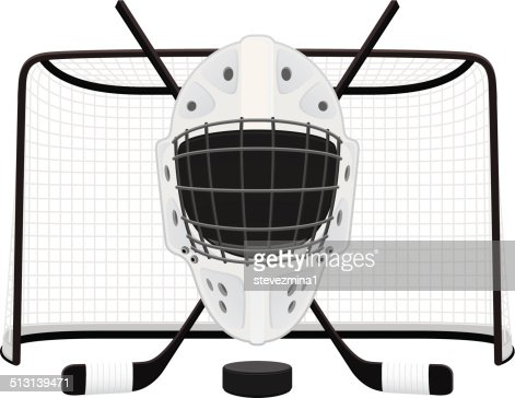 A Drawing Of A Hockey Goalie Mask In Front Of A Net Stock