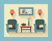 Drawing of a living room interior