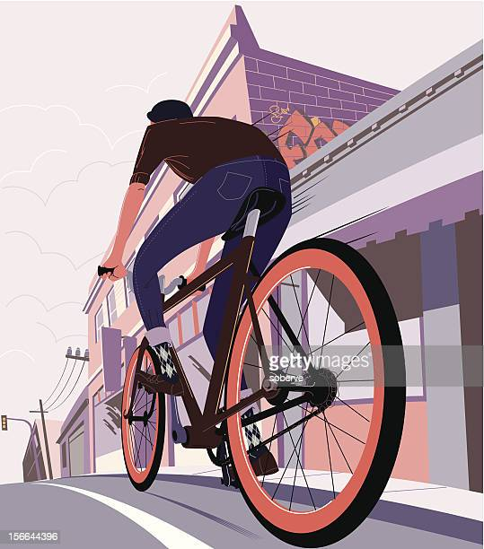 drawing of a man on a bicycle cycling in the city - bicycle stock illustrations
