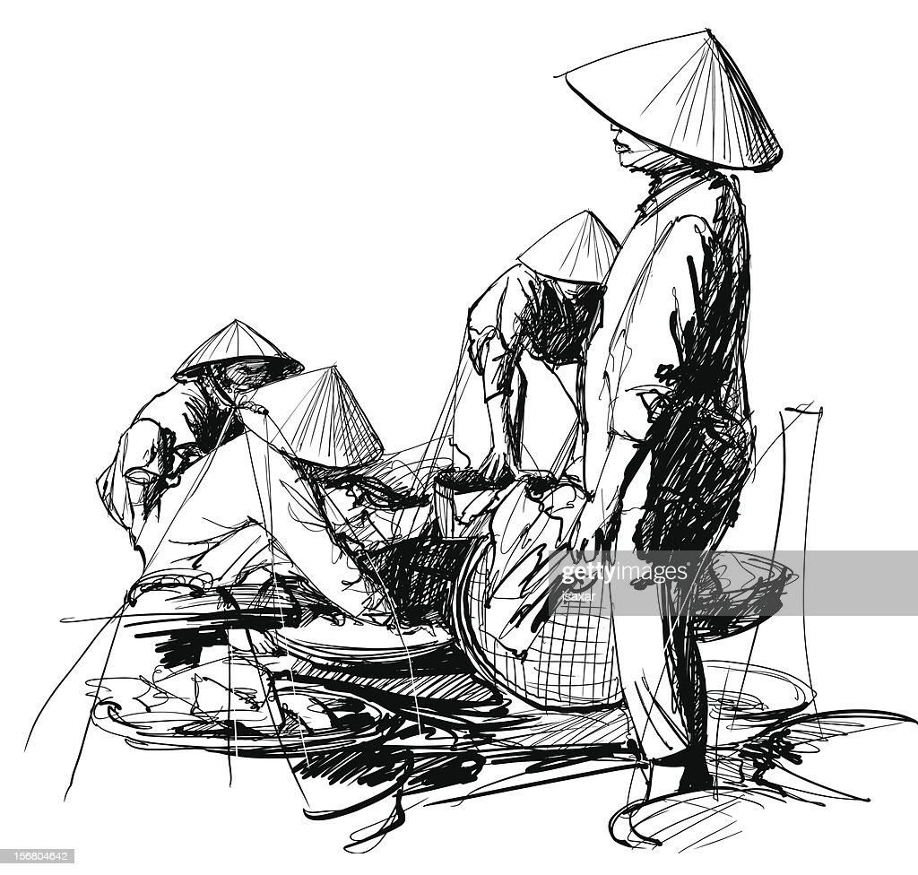 Drawing of a market scene in Vietnam
