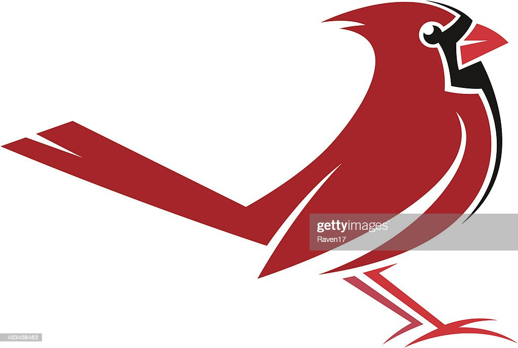 A drawing of a red and black Cardinal